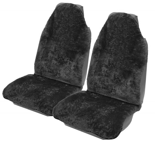 Charcoal sheepskin car set throwover